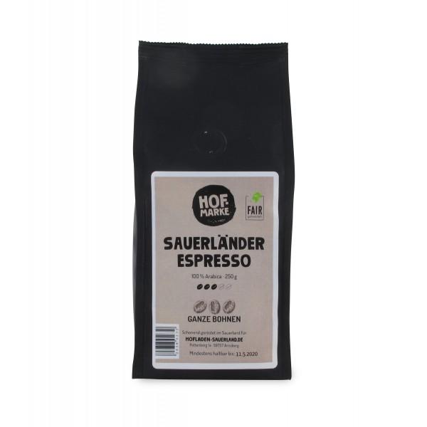 Sauerland Espresso Arabica Hofmarke ganze Bohne, 250g