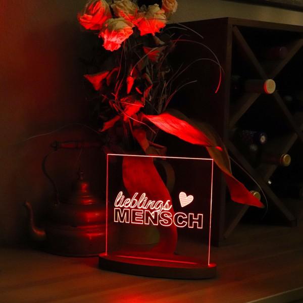"""LED-Lampe """"Lieblings-Mensch"""" inkl. Sockel"""
