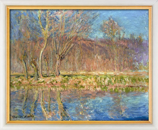"Claude Monet: Bild ""Bäume am Ufer, Frühling in Giverny"" (1885), gerahmt"