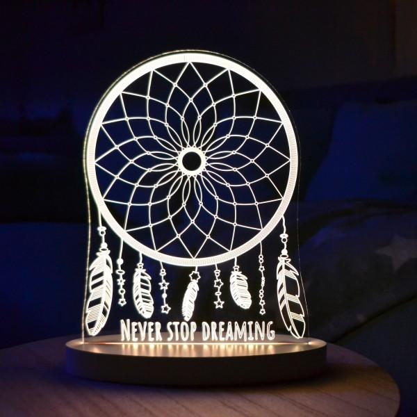 """LED-Lampe """"Never Stop Dreaming"""" inkl. Sockel"""