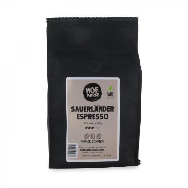 Sauerland Espresso groß ganze Bohne, 500g