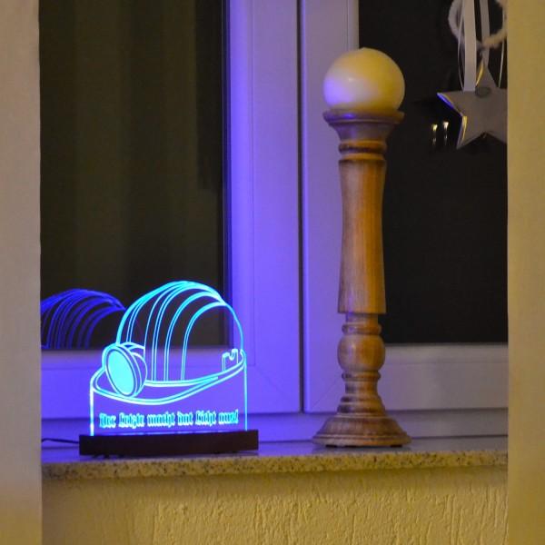 """LED-Lampe """"Der letzte macht das Licht aus"""" inkl. Sockel"""